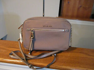 Authentic Michael Kors Polly Nylon Crossbody Large EW Dune Gold New With Tag