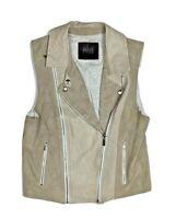 Paige Womens S Brown Taupe Moto Zip Vest Jacket Faux Suede Leather Biker Tan