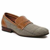 Ferro Aldo MFA-19371 Men's Brown Plaid Slip On Driving Loafers Shoes