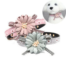 Dog Cat Puppy Collar Adjustable Leather Flower Necklace Bow Tie Neckerchief UK
