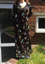 Fab Vintage 1970s Black Retro Flower Power Print Maxi Dress Size 10