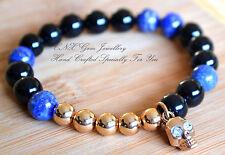 Hand Crafted Bracelet Crystal Beads 18k Gold GP Onyx Lapis Lazuli Skull Charm