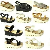 WOMENS LADIES CHUNKY SOLE PLATFORM SUMMER SANDALS WEDGES PLATFORM SHOES SIZE