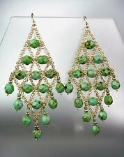 EXQUISITE Green Turquoise Gemstone Gold Chandelier Peruvian Earrings