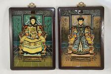Emperador & emperatriz inversa pinturas en cristal, porcelana, ca. 1910