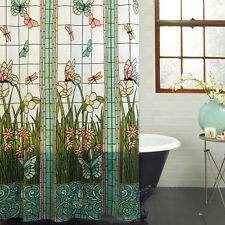 "Stained Glass Meadow PEVA Shower Curtain Bathroom Dragonfly Butterfly 70"" x 72"""