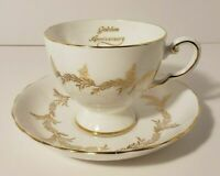 Vintage Royal Tuscan Fine Bone China Golden Anniversary Footed Teacup Saucer