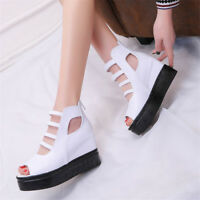 New Womens Peep Toe Platform High Wedge Heels Sandals Casual Creeper Shoes Size8