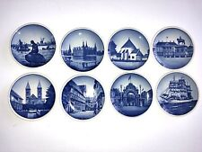 "Lot of 8 3"" Blue & White Royal Copenhagen Mini Hangable Plates"