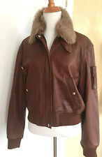 RALPH LAUREN Purple Label Calfskin Leather Lamb Fur Bomber Jacket NWT 10  $4598