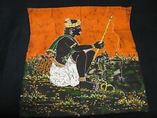 Batik Painting Fisherman Fishing on a River Painted on Cloth Asian