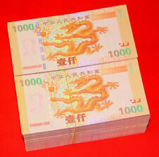 Lot of 10 Pieces 1000 China Century Dragon commemorative Test Banknote /UNC /AAA