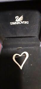 Swarovski  Signed Heart Brooch Pin In Original box