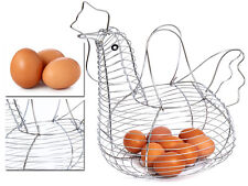 NEW CHROME PLATED CHICKEN HEN SHAPED WIRE EGG STORAGE DISPLAY BASKET HOLDER RACK