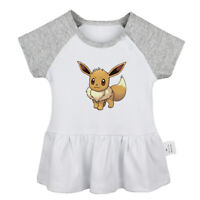 Eevee Pattern Newborn Baby Girls Dress Toddler Infant 100% Cotton Clothes Tops