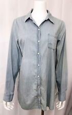 I Love H81 Cotton Chambray Shirt Button Front Long Sleeve size Large Forever 21