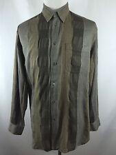 VTG Mens Salvatore Ferragamo Italy XL Gray Brown Striped Long Sleeve Shirt