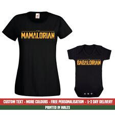 Ladies Mamalorian Babalorian T Shirt Baby Funny Mandalorian Birthday Gift Set