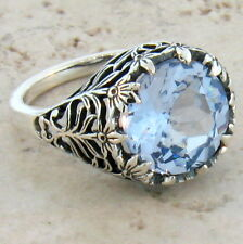 4.5 CT. SIM SKY BLUE TOPAZ ANTIQUE STYLE .925 STERLING SILVER RING SIZE 10, #372