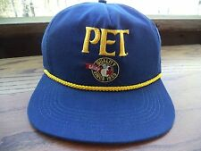 Pet Quality Dairy Hat Cap 70s 80s Snapback MADE IN USA Trucker Blue Yellow