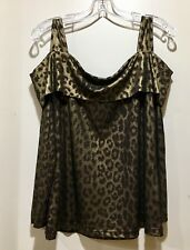 Womens Top Blouse Size Large Brown Gold Long Sleeve Leopard Animal Print