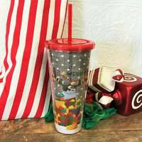NEW Black Glitter Holiday Christmas 2020 Acrylic Tumbler Starbucks Mug 19 oz