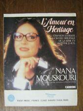 PARTITION MUSICALE FRANCE NANA MOUSKOURI L'AMOUR EN HERBE