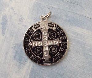 "Medalla De San Benito~St Benedict~Round Silver tone black enamel 1"" Medal"
