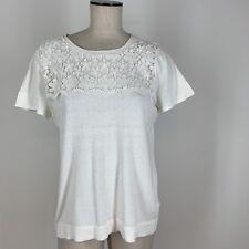 J Crew Women's Sweater ivory cotton lace short sleeve size large