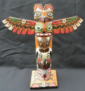 Kwakuitl Tribe Northwest Carved Wood Totem Pole Signed Ralph Francis 10 3/4""