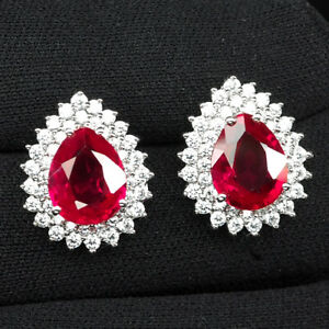 RUBY BLOOD RED PEAR 9.20 CT. SAPP 925 STERLING SILVER STUD EARRINGS JEWELRY GIFT