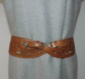 """Vintage Tooled & Cut-Out Mid Brown Leather Belt Cross Over Front 30ins""""-34ins"""""""