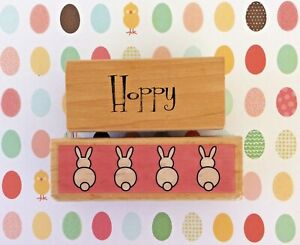 Easter Bunny Rabbits Wood Mount Rubber Stamp + Hoppy Saying Word Be Hoppy Theme
