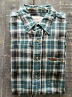 WOOLRICH Mens Plaid Flannel Button Down Shirt  Blue/Black/Beige Sz XL VTG EUC