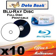 BRAND NEW 10 x Databank BD-R 25GB Blank Blu Ray Discs White Inkjet Printable BDR