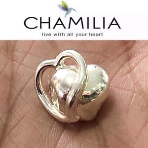 AUTHENTIC CHAMILIA 925 STERING SILVER ETERNITY HEART BEAD GA-121 LOVE CHARM