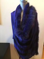 New Burberry Fox Fur Trimmed  Cashmere Half Mega Check Scarf Wrap Blue