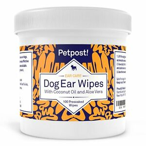 Petpost | Dog Ear Wipes - 100 Ultra Soft Cotton Pads in Coconut Oil Solution