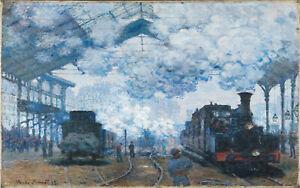 claude monet vintage painting art print steam train artwork canvas large