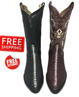 Men Genuine Cowhide Leather Stingray Print Cowboy J Toe Western Boots
