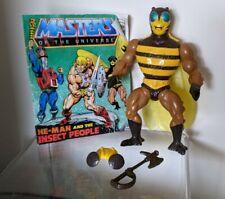 Vintage He Man- MOTU- Buzz-Off - 1984 Mattel - with original helmet, ax, comic