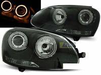 Headlights for VW GOLF 5 V MK5 2003-2009 Angel Eyes Black DEPO UK RHD/LHD LPVWH7