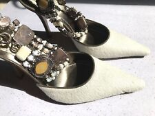 Gorgeous Authentic Rene Caovilla Ponyhair Ivory Pointed Toe Pumps 37.5