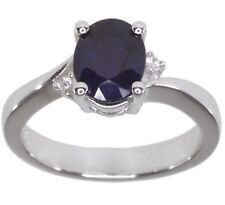 Diffusion Blue Sapphire Gemstone Oval Sterling Silver Ring size O