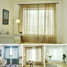 1/2Pcs Floral Semi Sheer Voile Window Curtains/Drapes for Bedroom Living Room