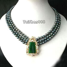 3 Rows Genuine Black Pearl Emerald Green Jade 18KGP Crystal Pendant Necklace