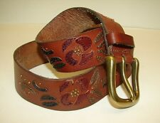 FOSSIL Brown Leather Belt Flower Multi Color Studded Hippie Boho Size Small 31