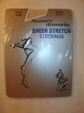 Nos Vintage Sheer Stretch Nylon Stockings Seamed 8.5-11 Off White