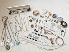 HUGE JOB LOT 60+ VINTAGE JEWELLERY GLASSES NECKLACES BOX PEARLS SILVER RINGS