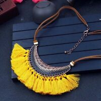 Tassel Necklaces for Women Big Ethnic Long Choker Boho Vintage Fashion Jewelry N